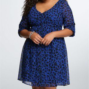 Torrid Blue Animal Print Chiffon Duster Cardigan